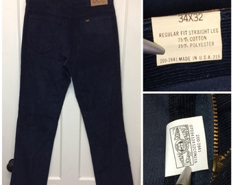 deadstock 1980s Lee 200 navy blue corduroys 34X32 measures 32x32 straight leg boyfriend jeans Talon zipper Union made in USA NOS NWT #623