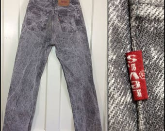 1980s Levi's 501 gray black acid wash denim 30X30, measures 29x30 straight leg button fly jeans made in USA Boyfriend #331