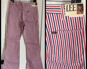 Deadstock 1960s Lee Leens Brushed Denim Red White and Blue Striped Bell Bottom Jeans 32x32 NOS NWT