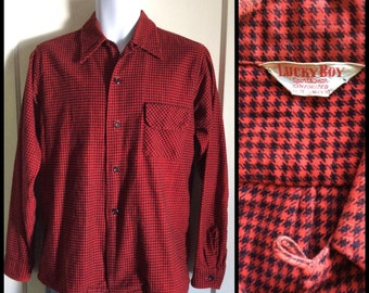 1940's Lucky Boy Houndstooth patterned Flannel Loop Shirt size Boy's 18, Small Red Black Sanforized