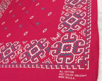 1970s hot pink blue Fast Color bandana 21.25x20.5 square geometric abstract Navajo print hemmed cotton selvedge made in USA #136