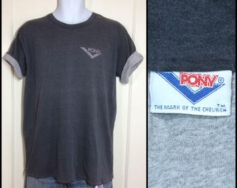 1980's Pony brand reversible double t-shirt looks size XL 21x26 faded black heather gray chevron logo