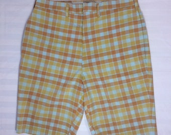 1960s Lee Leesures plaid burmuda shorts orange yellow light blue 29 inch waist flat front skate punk grunge