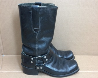vintage harness boots size 7.5 D full grain black leather square toe boots made in USA biker motorcycle