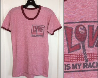 1970s paper thin Love is my Racket tennis t-shirt looks size medium 17.5x25.5 burgundy heather red ringer tee faded sports athletic hippie
