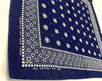 1950s 60s deadstock indigo blue polka dot circles bandana 17.5x16.5 Guaranteed Fast Color Tuside hemmed cotton selvedge NOS #191
