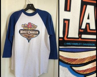 1980's 1982 God Created Harley Davidson Motorcycles Iron On print baseball style T-shirt size Medium 18x28
