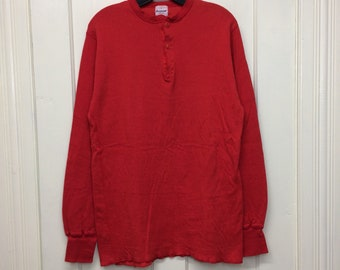 1980s Duofold soft cotton wool thermal undershirt size large long sleeve t-shirt red henley neck made in USA #10