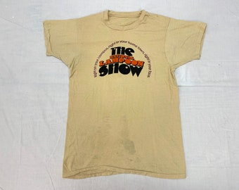 1980s the National Lampoon Show, Hall and Oats concert tee looks size small single stitch tan cotton distressed
