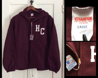 deadstock Champion running man tag Wool Hoody Felt Letters Jacket Coat size Large HC NOS NWT