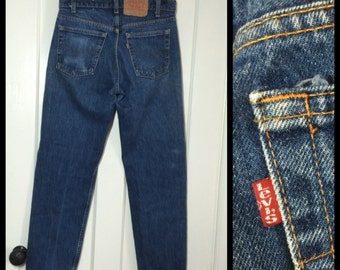 Vintage faded Levi's 505 great patina label reads 31X30 measured 30x30 Straight Leg denim Blue Jeans 1980's made in USA Boyfriend jean #1255