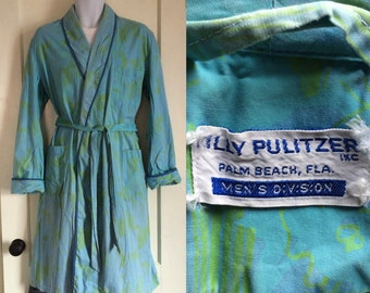 1960's Lilly Pulitzer soft cotton patterned Mens Robe looks size Large Palm Beach