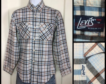 1970's Levi's light Blue Brown Black Plaid Flannel Shirt size Medium all cotton White Tab made in USA barely used condition