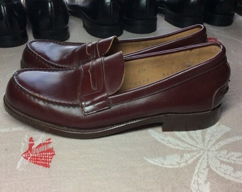 1950s Deadstock Penny Loafers Burgundy Brown men's size 8.5 Flagg Bros. Custom Grade Hand Finished leather soles