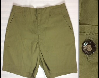 1960s Boy Scouts of America plain olive green shorts 29 inch waist camping sherpa hiking