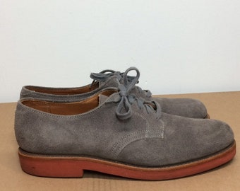 Vintage gray suede leather oxford shoes Walk-Over made in USA mens size 6.5