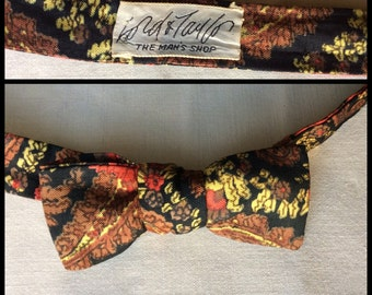 Vintage 1960's Silk Paisley Self Tie Skinny Square End Bowtie adjustable Lord and Taylor Black Brown Red Yellow
