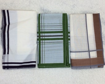 3 deadstock vintage mens hankies handkerchiefs pocket squares white purple blue green brown pinstripe border striped hemmed cotton NOS