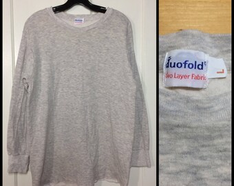 1980s Duofold soft 2 ply double layer cotton wool Thermal Long Johns Undershirt size large long sleeve t-shirt light heather gray