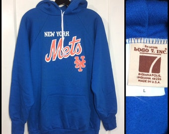 deadstock 1970s New York Mets hoodie sweatshirt size large baseball NYC blue Logo 7 made in USA NOS