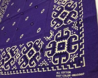 1960s purple Bandana 20x20.5 Fast Color Square geometric abstract Navajo print cotton selvedge made in USA #90