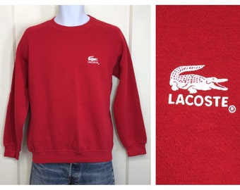 1980s Izod Lacoste alligator fuzzy flocked print sweatshirt size medium red white preppy made in USA
