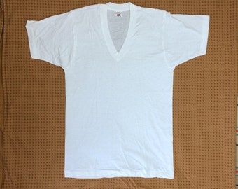 deadstock 1970s Fruit of the Loom V-neck t-shirt undershirt size medium 18x28 thin cotton made in USA plain blank single stitch NOS