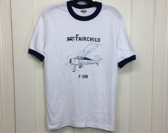deadstock 1980s Fairchild F-24W vintage airplane t-shirt size medium 17x25 pilot aircraft thin white ringer tee Hanes made in USA NOS