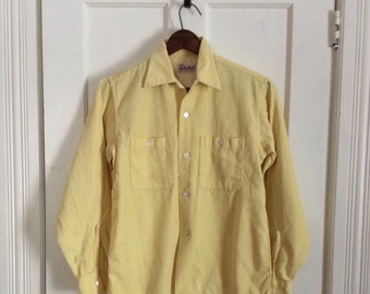 Vintage 1950's Mens soft yellow loop shirt size Small Rockabilly Sandy MacDonald