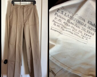 1940's WWII Military Khaki Button Fly Trousers 30X33 TS Lankford looks deadstock