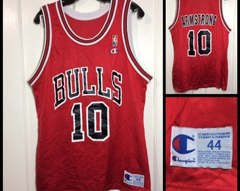 1990s Chicago Bulls BJ Armstrong number 10 NBA basketball team red black white Champion brand Jersey tank top size large 44 made in USA