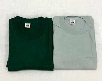 Pick One- deadstock 1960s Fruit of the Loom pocket tee plain blank t-shirt size large cotton single stitch made in USA square pocket NOS