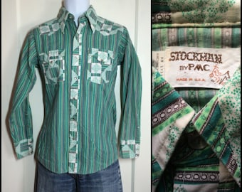 1970's Vintage Patchwork Striped cowboy Western snap Shirt size Small all cotton Green color block
