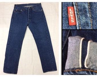 1980's 501 Levi's Jeans 35x34, measures 32x30.5 original hem, redline selvedge button fly Boyfriend jean dark wash denim #325