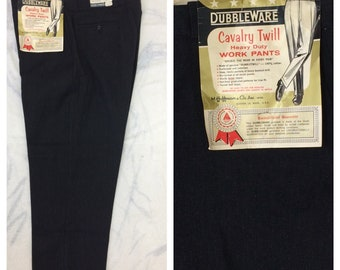 1960s deadstock Dubble Ware Cavalry Twill black cotton whipcord work pants 40x28 Sanforized Talon zipper cuffed tapered sail cloth NOS NWT
