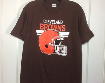 1980's Cleveland Browns Football Team T-shirt size Large 18.5x26.5 made in USA NFL Trench brand tee Excellent barely used condition