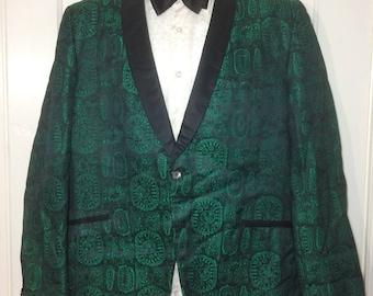 1950s 1960s shiny emerald green black satin rococo patterned suit tuxedo dinner jacket size 40 short rockabilly swing jazz lounge lizard
