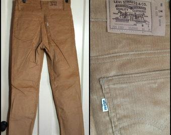 Deadstock Student 705 Levis Corduroys 30x31 Tan Straight Leg cords Talon 30 inch waist #1563