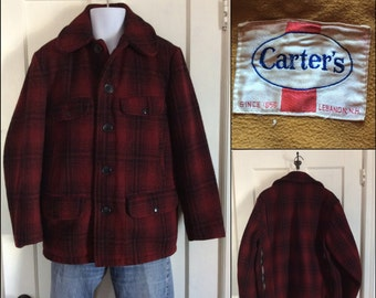 1950's Carter's Wool Hunting Jacket Coat Dark Red and Black Plaid looks size large