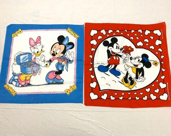Pick one- 1980s Disney Daisy Duck, Minnie and Mickey Mouse Valentines Day bandana made in USA #185