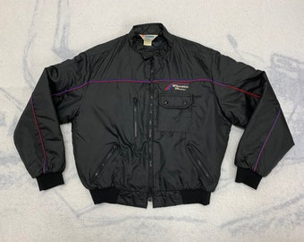 1980s BF Goodrich tires work quilted bomber jacket size large made in USA black red blue piping mechanic race car gear head trucker
