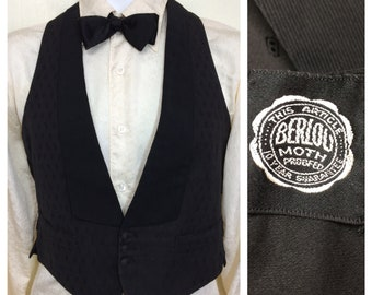 Antique formal black tuxedo waistcoat vest with lapel buckle back looks size XS Edwardian Victorian brocade
