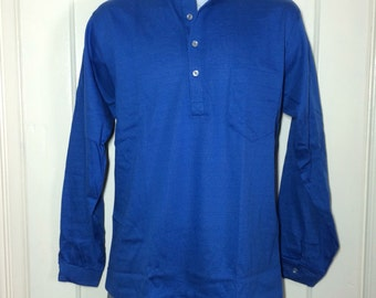 Deadstock 1960's cotton Nehru Collar Shirt size Medium NOS Henley neck Long sleeve t-shirt royal Blue