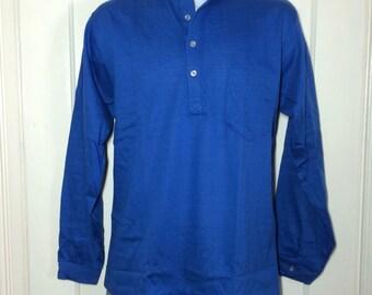 Deadstock 1960's cotton Nehru Collar Shirt size Medium NOS Henley neck Long sleeve t-shirt royal Blue
