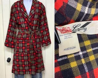 1950s cotton flannel plaid smoking jacket robe size medium by Luxury Robe red black yellow
