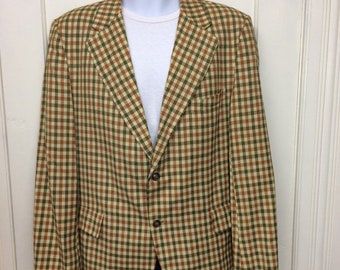 1970s plaid sport coat jacket blazer looks size medium 2 button, single vent gold yellow rust brown preppy mod