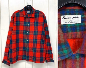 1950s Simtex soft cotton plaid flannel loop collar shirt size large red blue green rockabilly
