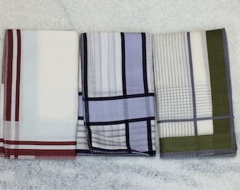 3 deadstock vintage mens hankies handkerchiefs pocket squares white lavender olive green burgundy border striped hemmed cotton NOS
