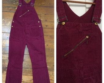 1960s dark burgundy brushed cotton bellbottom flare overalls measures 35x30 Union Made slanted Talon zipper hippie boho workwear