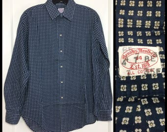 Vintage Brooks Brothers light weight soft cotton dress shirt size 14 small dark blue tiny print white flowers patterned Ivy League preppy